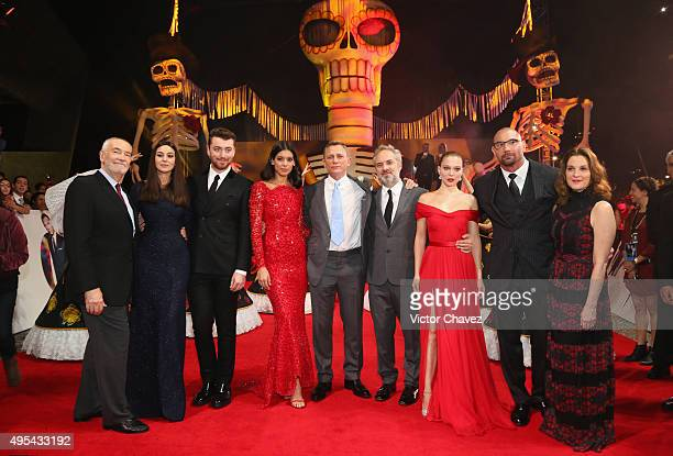 Producer Michael G Wilson Monica Bellucci Sam Smith Stephanie Sigman Daniel Craig Sam Mendes Lea Seydoux Dave Bautista and producer Barbara Broccoli...