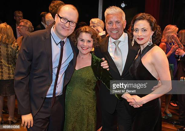 Producer Michael Harrison Imelda Staunton producer David Ian and Lara Pulver attend a post show drinks reception on stage following the press night...