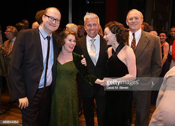 Producer Michael Harrison Imelda Staunton producer David Ian Lara Pulver and Peter Davison attend a post show drinks reception on stage following the...