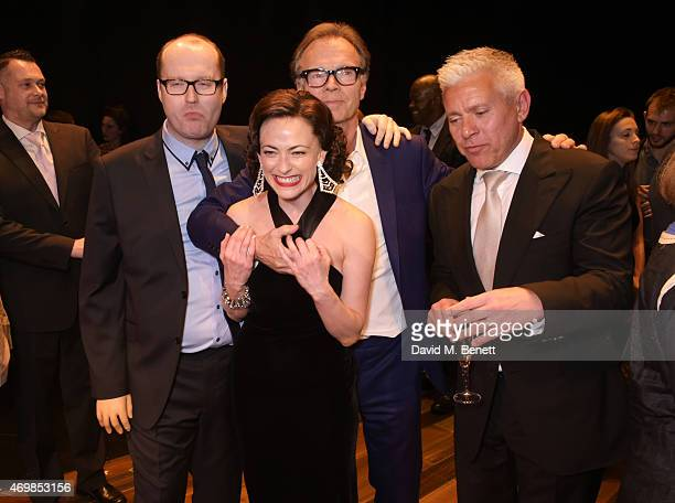 Producer Michael Harrison Lara Pulver director Jonathan Kent and producer David Ian attend a post show drinks reception on stage following the press...