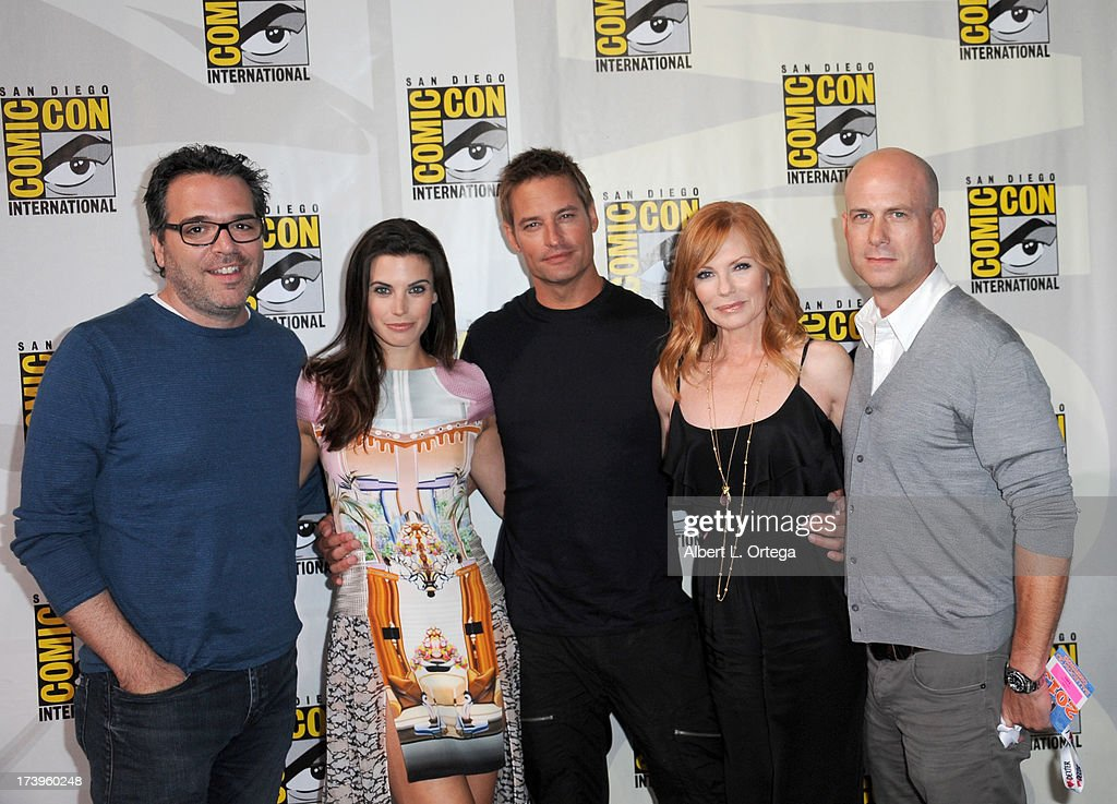 Producer Michael Seitzman, actors Meghan Ory, Josh Holloway, <a gi-track='captionPersonalityLinkClicked' href=/galleries/search?phrase=Marg+Helgenberger&family=editorial&specificpeople=201493 ng-click='$event.stopPropagation()'>Marg Helgenberger</a> and Tripp Vinson speak onstage at the 'Intelligence' panel during Comic-Con International 2013 at San Diego Convention Center on July 18, 2013 in San Diego, California.