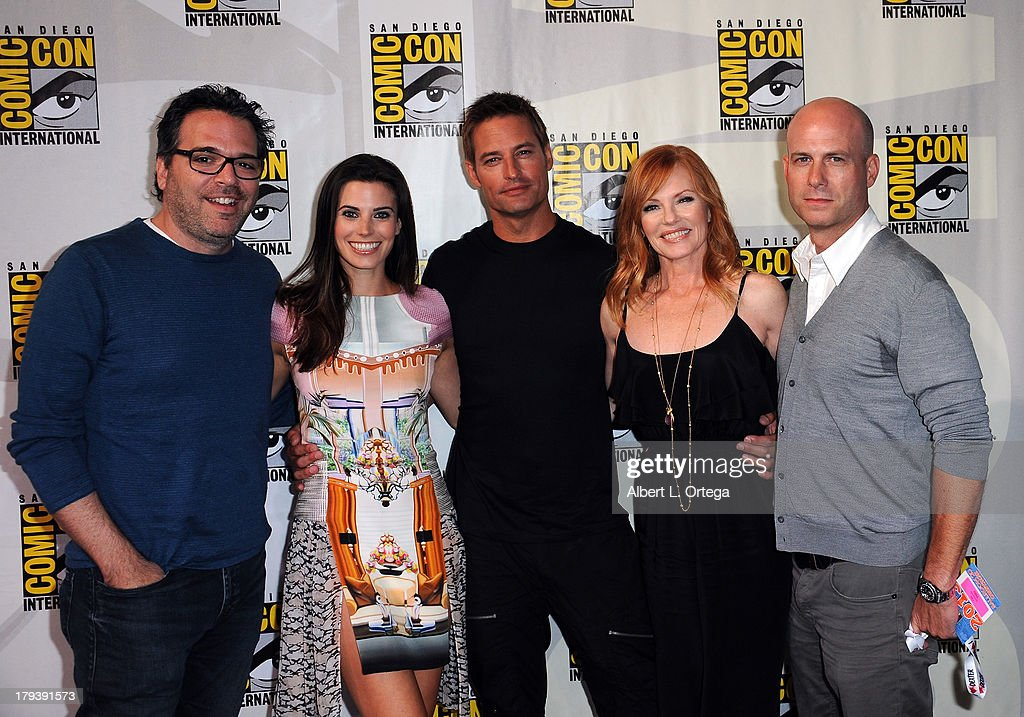Producer Michael Seitzman, actress Meghan Ory, actor <a gi-track='captionPersonalityLinkClicked' href=/galleries/search?phrase=Josh+Holloway&family=editorial&specificpeople=458791 ng-click='$event.stopPropagation()'>Josh Holloway</a>, actress <a gi-track='captionPersonalityLinkClicked' href=/galleries/search?phrase=Marg+Helgenberger&family=editorial&specificpeople=201493 ng-click='$event.stopPropagation()'>Marg Helgenberger</a> and producer Tripp Vinson participate in the 'Intelligence' Panel on Day 1 of the 2013 Comic-Con International held at San Diego Convention Center on Thursday July 18, 2012 in San Diego, California.