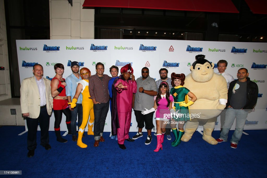Producer Michael Shoemaker, actors Taran Killam, Seth Meyers, Keenan Thompson, Bobby Moynihan, writer Judd Winick, actor Josh Meyers and guests attend 'The Awesomes' VIP After-Party sponsored by Hulu and Xbox at Andaz on July 20, 2013 in San Diego, California.
