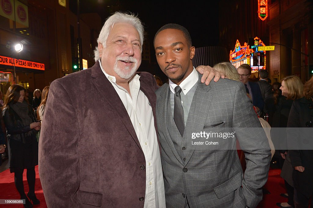 Producer Michael Tadross and actor <a gi-track='captionPersonalityLinkClicked' href=/galleries/search?phrase=Anthony+Mackie&family=editorial&specificpeople=206212 ng-click='$event.stopPropagation()'>Anthony Mackie</a> arrive at the 'Gangster Squad' premiere at Grauman's Chinese Theatre on January 7, 2013 in Hollywood, California.