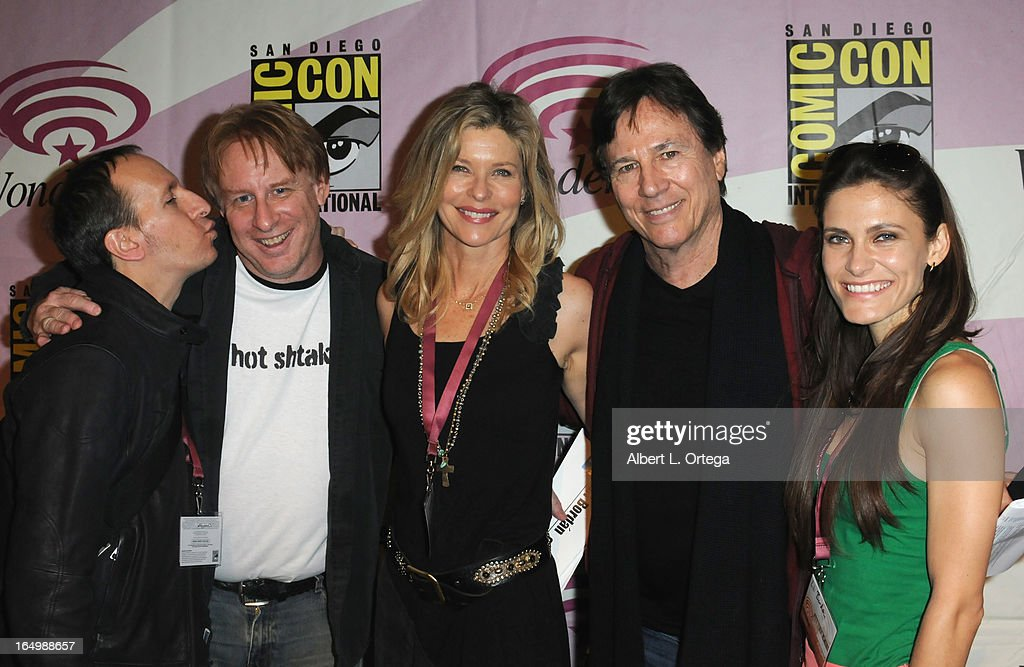 Producer Michael Taylor, producer Kevin Grazier, actress Kate Vernon, actor Richard Hatch, and actress Lili Bordan participate at WonderCon Anaheim 2013 - Day 1 at Anaheim Convention Center on March 29, 2013 in Anaheim, California.
