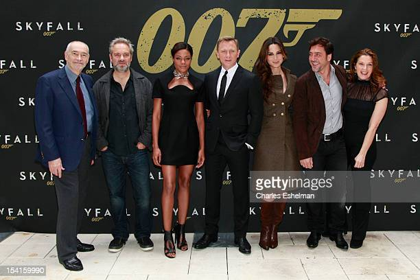 Producer Michael Wilson director Sam Mendes actors Naomie Harris Daniel Craig Bernice Marlohe Javier Bardem and producer Barbara Broccoli attend the...