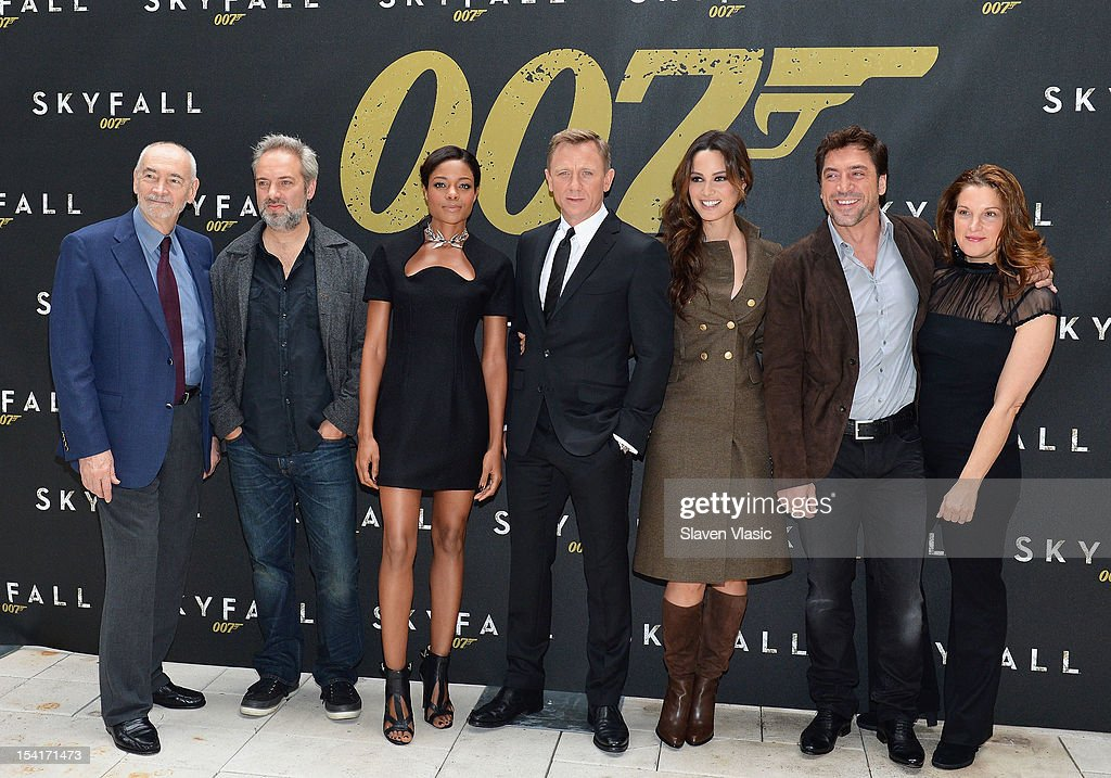 Producer Michael Wilson, director <a gi-track='captionPersonalityLinkClicked' href=/galleries/search?phrase=Sam+Mendes&family=editorial&specificpeople=211300 ng-click='$event.stopPropagation()'>Sam Mendes</a>, actors <a gi-track='captionPersonalityLinkClicked' href=/galleries/search?phrase=Naomie+Harris&family=editorial&specificpeople=238918 ng-click='$event.stopPropagation()'>Naomie Harris</a>, Daniel Craig, Bernice Marlohe, <a gi-track='captionPersonalityLinkClicked' href=/galleries/search?phrase=Javier+Bardem&family=editorial&specificpeople=209334 ng-click='$event.stopPropagation()'>Javier Bardem</a> and producer <a gi-track='captionPersonalityLinkClicked' href=/galleries/search?phrase=Barbara+Broccoli&family=editorial&specificpeople=2206655 ng-click='$event.stopPropagation()'>Barbara Broccoli</a> attend 'Skyfall' Cast Photo Call at Crosby Street Hotel on October 15, 2012 in New York City.