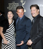 Producer Michele Vega and actors Steve Burton and Sean Kanan arrive at the 41st Annual Daytime Emmy Awards held at The Beverly Hilton Hotel on June...
