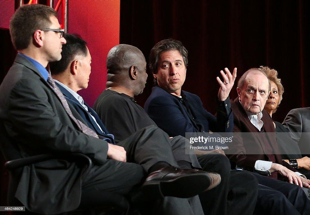 Producer Mike Trinklein actors George Takei Jimmie Walker Ray Romano Bob Newhart and Leslie Uggams speak onstage during the 'Pioneers of Television...