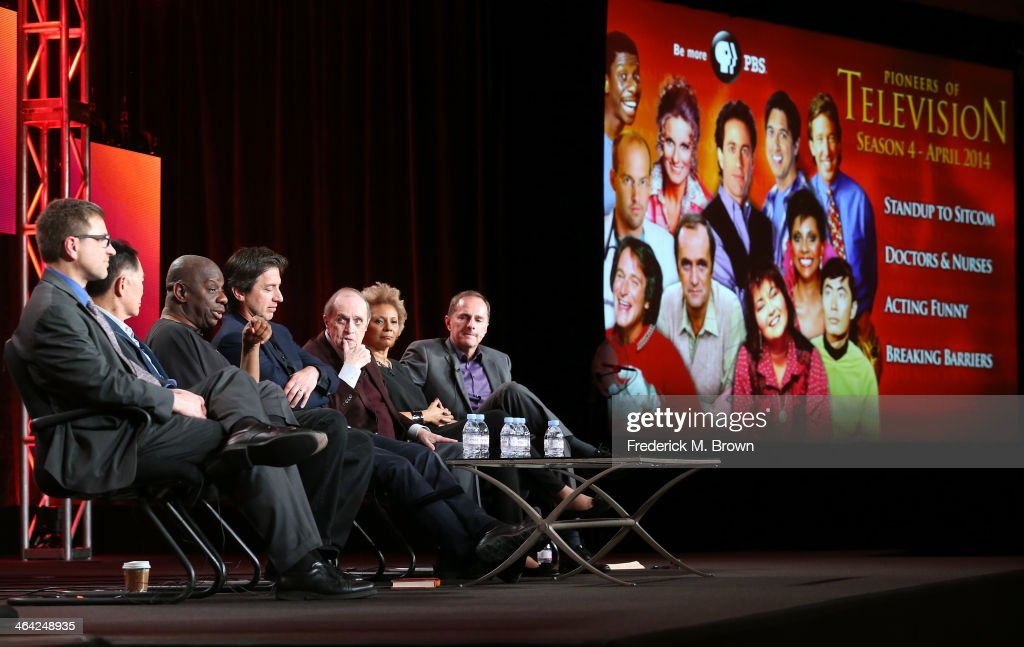 Producer Mike Trinklein actors George Takei Jimmie Walker Ray Romano Bob Newhart Leslie Uggams and producer Steve Boettcher speak onstage during the...