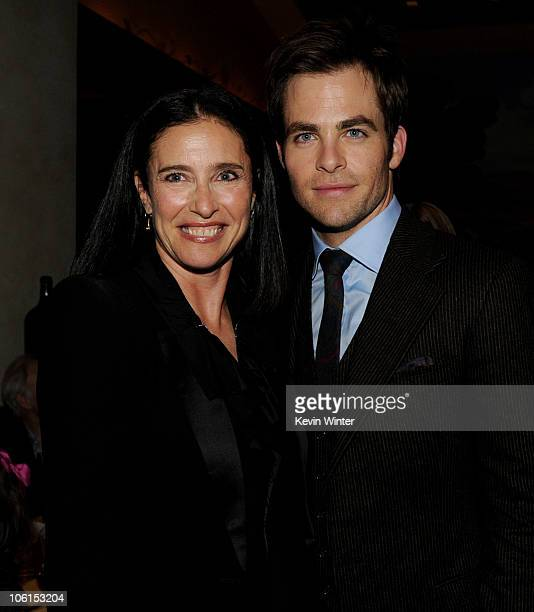 Producer Mimi Rogers and actor Chris Pine pose at the after party for the premiere of Twentieth Century Fox's 'Unstoppable' at the Napa Valley Grille...