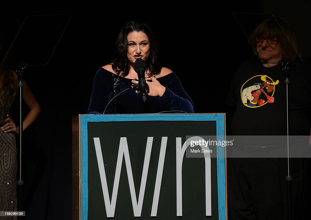Producer Missy Bania accepts the WIN Award for Best Reality Series for 'Pit Bulls and Parolees' during the 14th Annual Women's Image Network Awards at Paramount Theater on the Paramount Studios lot on December 12, 2012 in Hollywood, California.