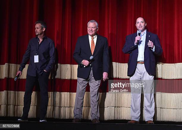 Producer Mitch Bell Georgia Governor Nathan Deal and Georgia Department of Economic Development Commissioner Chris Carr onstage at 'Captain America...