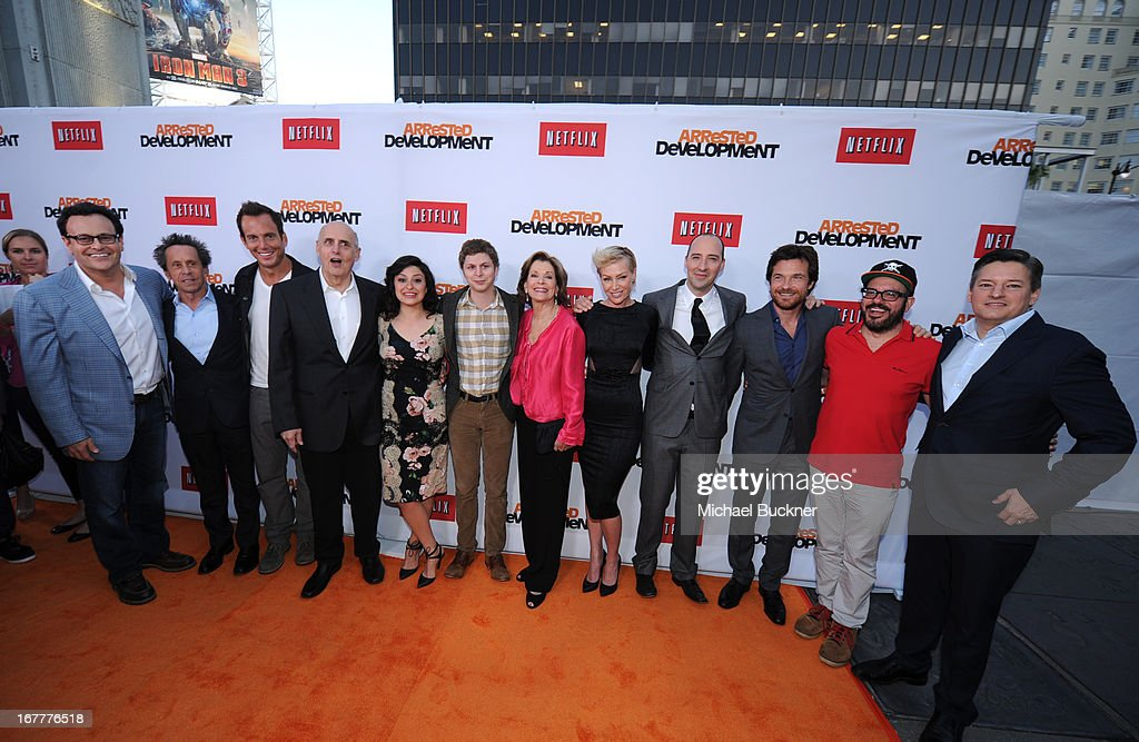Producer <a gi-track='captionPersonalityLinkClicked' href=/galleries/search?phrase=Mitchell+Hurwitz&family=editorial&specificpeople=240567 ng-click='$event.stopPropagation()'>Mitchell Hurwitz</a>, producer <a gi-track='captionPersonalityLinkClicked' href=/galleries/search?phrase=Brian+Grazer&family=editorial&specificpeople=203009 ng-click='$event.stopPropagation()'>Brian Grazer</a>, actor <a gi-track='captionPersonalityLinkClicked' href=/galleries/search?phrase=Will+Arnett&family=editorial&specificpeople=209259 ng-click='$event.stopPropagation()'>Will Arnett</a>, actor <a gi-track='captionPersonalityLinkClicked' href=/galleries/search?phrase=Jeffrey+Tambor&family=editorial&specificpeople=210677 ng-click='$event.stopPropagation()'>Jeffrey Tambor</a>, actress <a gi-track='captionPersonalityLinkClicked' href=/galleries/search?phrase=Alia+Shawkat&family=editorial&specificpeople=206872 ng-click='$event.stopPropagation()'>Alia Shawkat</a>, actor <a gi-track='captionPersonalityLinkClicked' href=/galleries/search?phrase=Michael+Cera&family=editorial&specificpeople=226654 ng-click='$event.stopPropagation()'>Michael Cera</a>, actress <a gi-track='captionPersonalityLinkClicked' href=/galleries/search?phrase=Jessica+Walter&family=editorial&specificpeople=220269 ng-click='$event.stopPropagation()'>Jessica Walter</a>, actress <a gi-track='captionPersonalityLinkClicked' href=/galleries/search?phrase=Portia+de+Rossi&family=editorial&specificpeople=204197 ng-click='$event.stopPropagation()'>Portia de Rossi</a>, actor <a gi-track='captionPersonalityLinkClicked' href=/galleries/search?phrase=Tony+Hale&family=editorial&specificpeople=745565 ng-click='$event.stopPropagation()'>Tony Hale</a>, actor <a gi-track='captionPersonalityLinkClicked' href=/galleries/search?phrase=Jason+Bateman&family=editorial&specificpeople=204774 ng-click='$event.stopPropagation()'>Jason Bateman</a>, actor David Cross and <a gi-track='captionPersonalityLinkClicked' href=/galleries/search?phrase=Ted+Sarandos&fam
