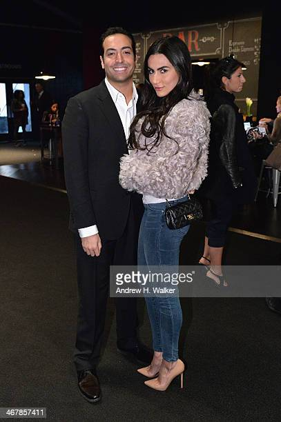 Producer Mohammed Al Turki and Diala Makki during MercedesBenz Fashion Week Fall 2014 at Lincoln Center for the Performing Arts on February 8 2014 in...