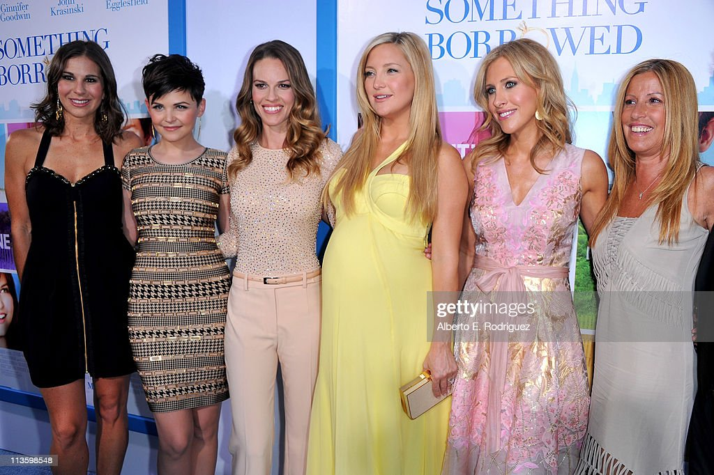 Producer Molly Mickler Smith, actress <a gi-track='captionPersonalityLinkClicked' href=/galleries/search?phrase=Ginnifer+Goodwin&family=editorial&specificpeople=215039 ng-click='$event.stopPropagation()'>Ginnifer Goodwin</a>, producer/actress Hilary Swank, actress <a gi-track='captionPersonalityLinkClicked' href=/galleries/search?phrase=Kate+Hudson&family=editorial&specificpeople=156407 ng-click='$event.stopPropagation()'>Kate Hudson</a>, writer Emily Giffin, and Ellen H. Schwartz arrive at the premiere of Warner Bros. 'Something Borrowed' held at Grauman's Chinese Theatre on May 3, 2011 in Hollywood, California.