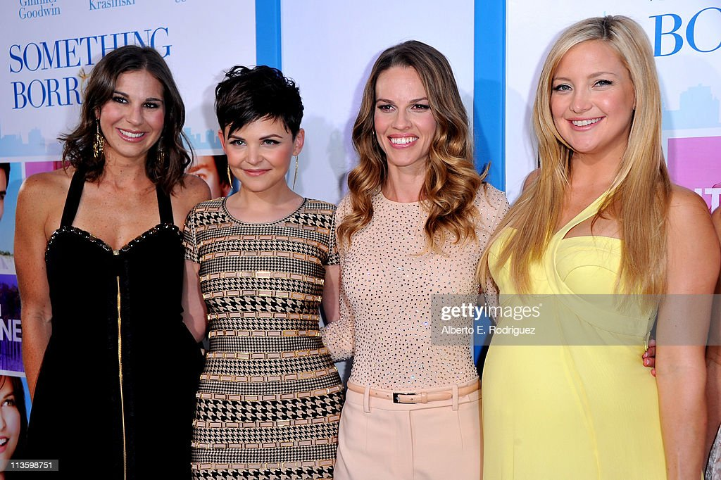 Producer Molly Mickler Smith, actress <a gi-track='captionPersonalityLinkClicked' href=/galleries/search?phrase=Ginnifer+Goodwin&family=editorial&specificpeople=215039 ng-click='$event.stopPropagation()'>Ginnifer Goodwin</a>, producer/actress <a gi-track='captionPersonalityLinkClicked' href=/galleries/search?phrase=Hilary+Swank&family=editorial&specificpeople=201692 ng-click='$event.stopPropagation()'>Hilary Swank</a>, and actress <a gi-track='captionPersonalityLinkClicked' href=/galleries/search?phrase=Kate+Hudson&family=editorial&specificpeople=156407 ng-click='$event.stopPropagation()'>Kate Hudson</a> arrive at the premiere of Warner Bros. 'Something Borrowed' held at Grauman's Chinese Theatre on May 3, 2011 in Hollywood, California.