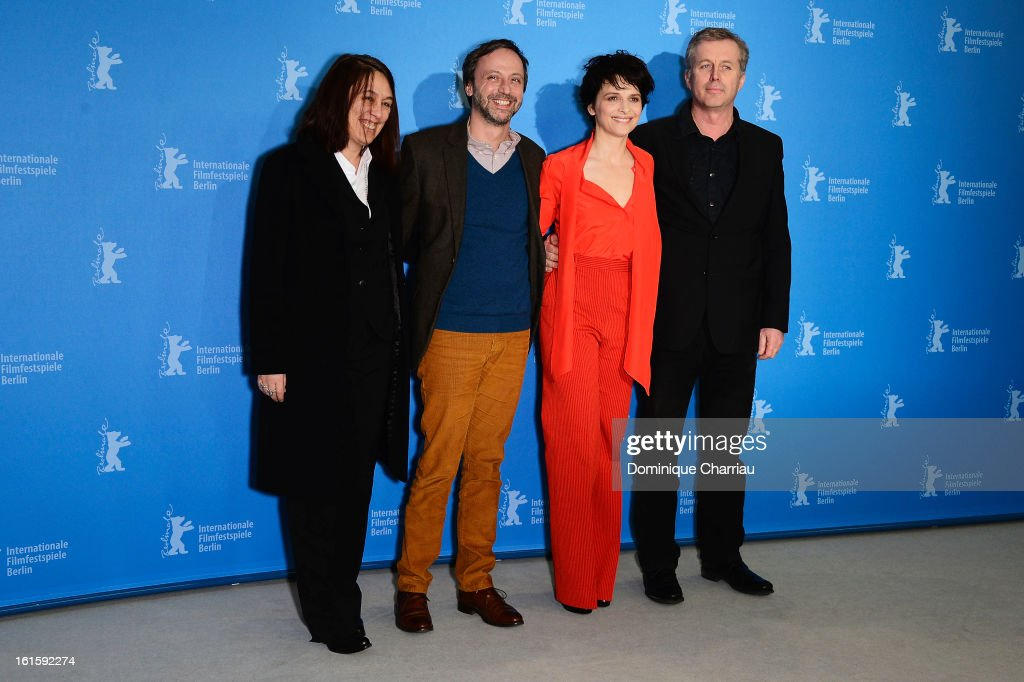 Producer Muriel Merlin, actors Jean Luc Vincen, <a gi-track='captionPersonalityLinkClicked' href=/galleries/search?phrase=Juliette+Binoche&family=editorial&specificpeople=209273 ng-click='$event.stopPropagation()'>Juliette Binoche</a> and director <a gi-track='captionPersonalityLinkClicked' href=/galleries/search?phrase=Bruno+Dumont&family=editorial&specificpeople=607004 ng-click='$event.stopPropagation()'>Bruno Dumont</a> attend the 'Camille Claudel 1915' Photocall during the 63rd Berlinale International Film Festival at the Grand Hyatt Hotel on February 12, 2013 in Berlin, Germany.