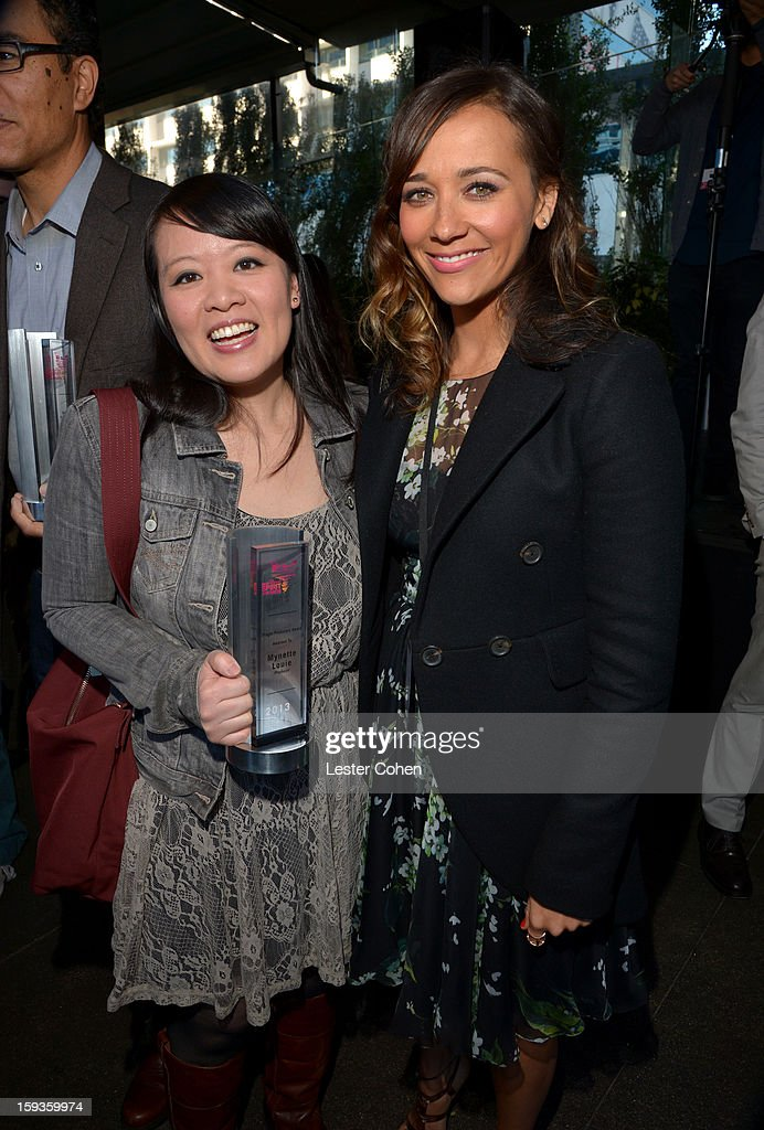 Producer Mynette Louie and actress <a gi-track='captionPersonalityLinkClicked' href=/galleries/search?phrase=Rashida+Jones&family=editorial&specificpeople=2133481 ng-click='$event.stopPropagation()'>Rashida Jones</a> attend the Film Independent Filmmaker Grant And Spirit Awards Nominees Brunch at BOA Steakhouse on January 12, 2013 in West Hollywood, California.