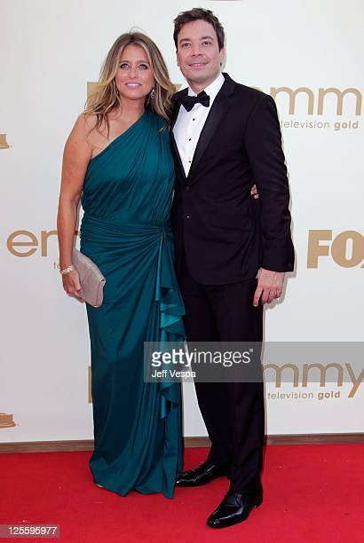 Producer Nancy Juvonen and actor Jimmy Fallon arrive to the 63rd Primetime Emmy Awards at the Nokia Theatre LA Live on September 18 2011 in Los...