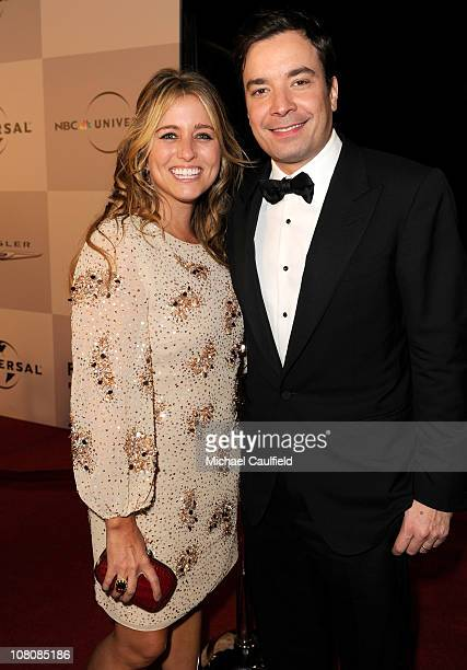 Producer Nancy Juvonen and TV personality Jimmy Fallon arrive at NBCUniversal/Focus Features Golden Globes Viewing and After Party sponsored by...