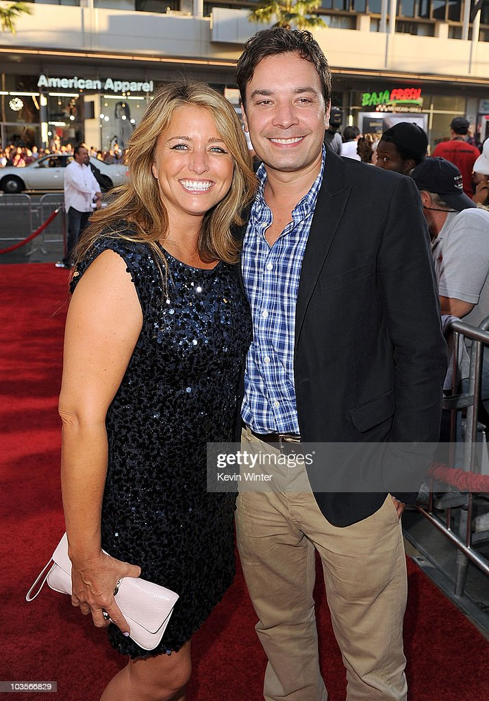 Producer Nancy Juvonen (L) and TV personality Jimmy Fallon arrive at the premiere of Warner Bros. 'Going The Distance' held at Grauman's Chinese Theatre on August 23, 2010 in Los Angeles, California.