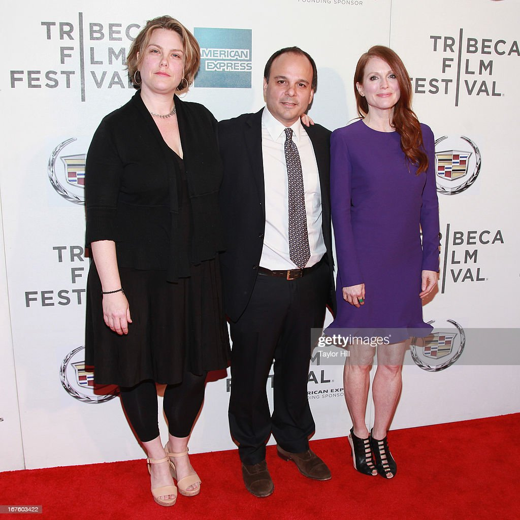 Producer Naomi Despres, producer Bob Salerno, and actress <a gi-track='captionPersonalityLinkClicked' href=/galleries/search?phrase=Julianne+Moore&family=editorial&specificpeople=171555 ng-click='$event.stopPropagation()'>Julianne Moore</a> attend the screening of 'The English Teacher' during the 2013 Tribeca Film Festival at BMCC Tribeca PAC on April 26, 2013 in New York City.