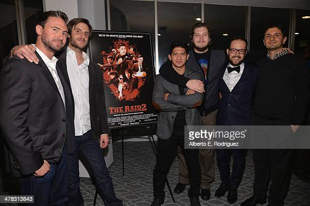 Producer Nate Bolotin producer Nick Spicer actor Iko Uwais director Gareth Evans composer Joe Trapanese and producer Aram Tertzakian attend the after...