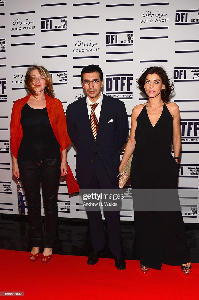 Producer Nathalie Mesuret, director Nadir Mokneche and Lubna Azabal attend the Awards Ceremony at the Al Rayyan Theatre during the 2012 Doha Tribeca Film Festival on November 22, 2012 in Doha, Qatar.