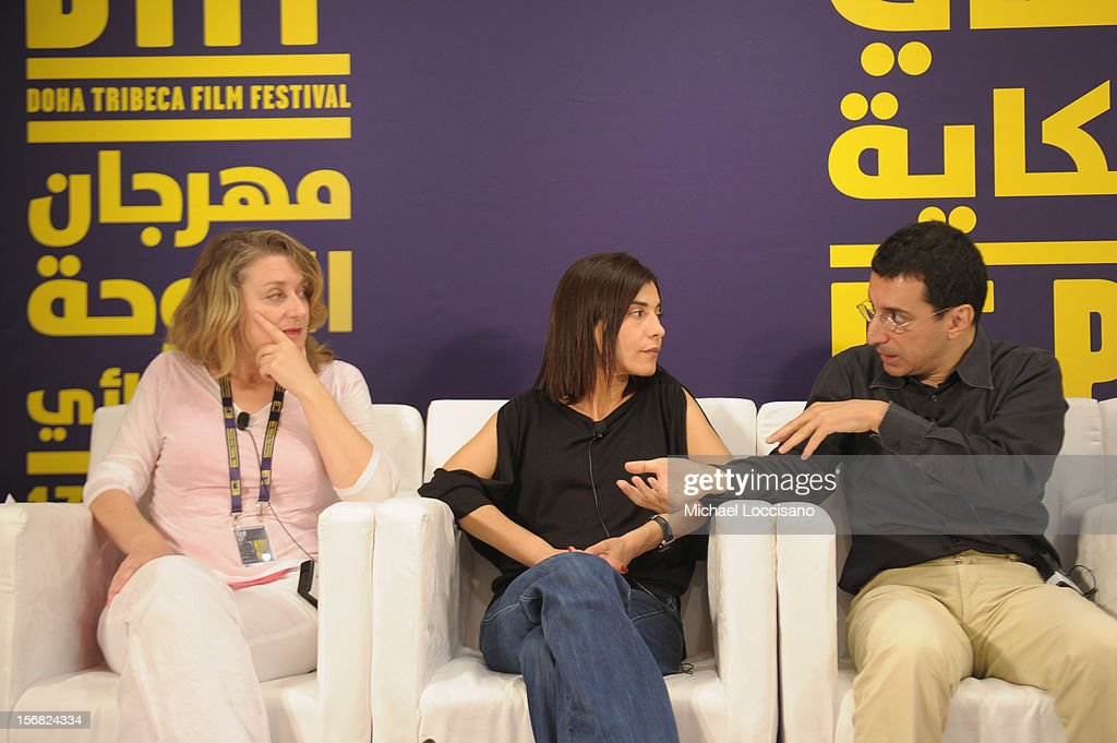 Producer Nathalie Mesuret with Lubna Azabal and director Nadir Mokneche attend the Arab Feature Film Press Conference at the Al Mirqab Hotel during the 2012 Doha Tribeca Film Festival on November 22, 2012 in Doha, Qatar.