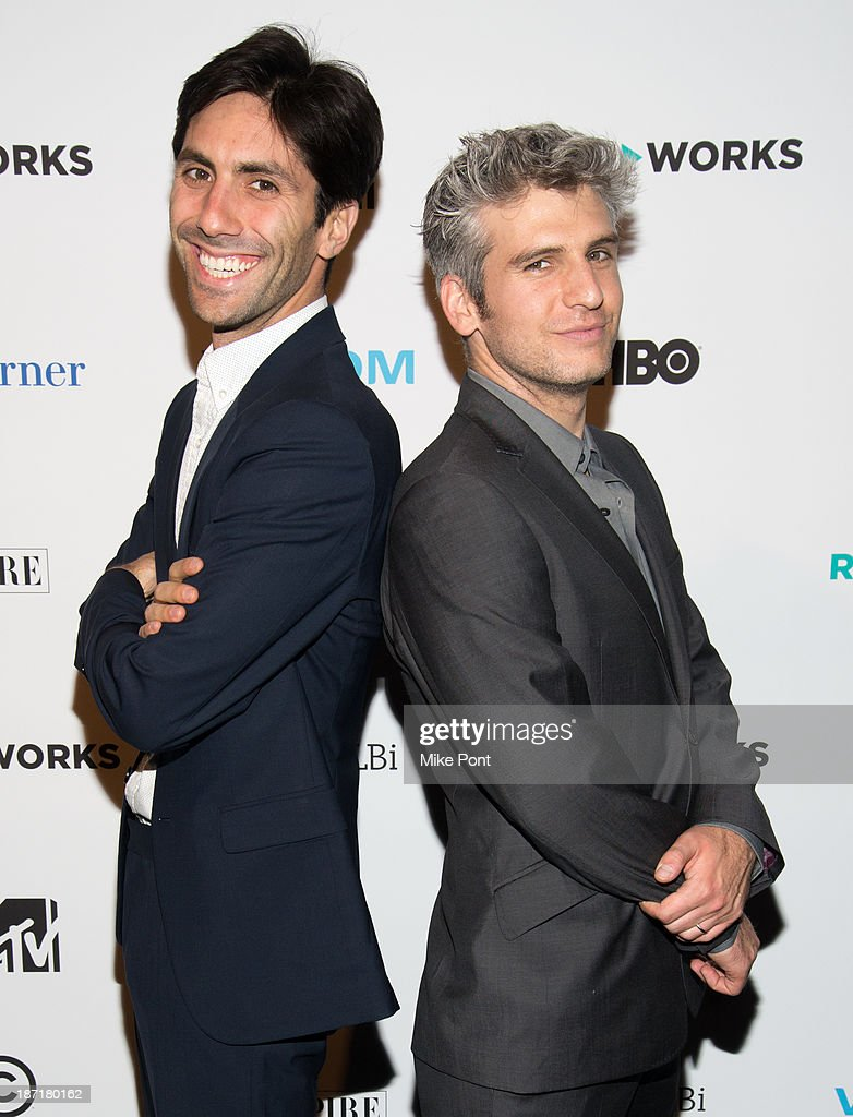 Producer <a gi-track='captionPersonalityLinkClicked' href=/galleries/search?phrase=Nev+Schulman&family=editorial&specificpeople=7187644 ng-click='$event.stopPropagation()'>Nev Schulman</a> and Director Max Joseph attend the REEL WORKS 2013 benefit gala at The Edison Ballroom on November 6, 2013 in New York City.