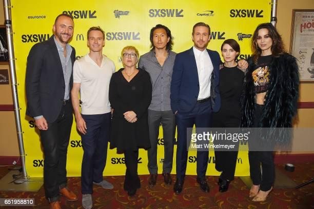 Producer Nicolas Gonda actor Michael Fassbender producers Sarah Green Ken Kao actors Ryan Gosling Rooney Mara and Berenice Marlohe attends the 'Song...
