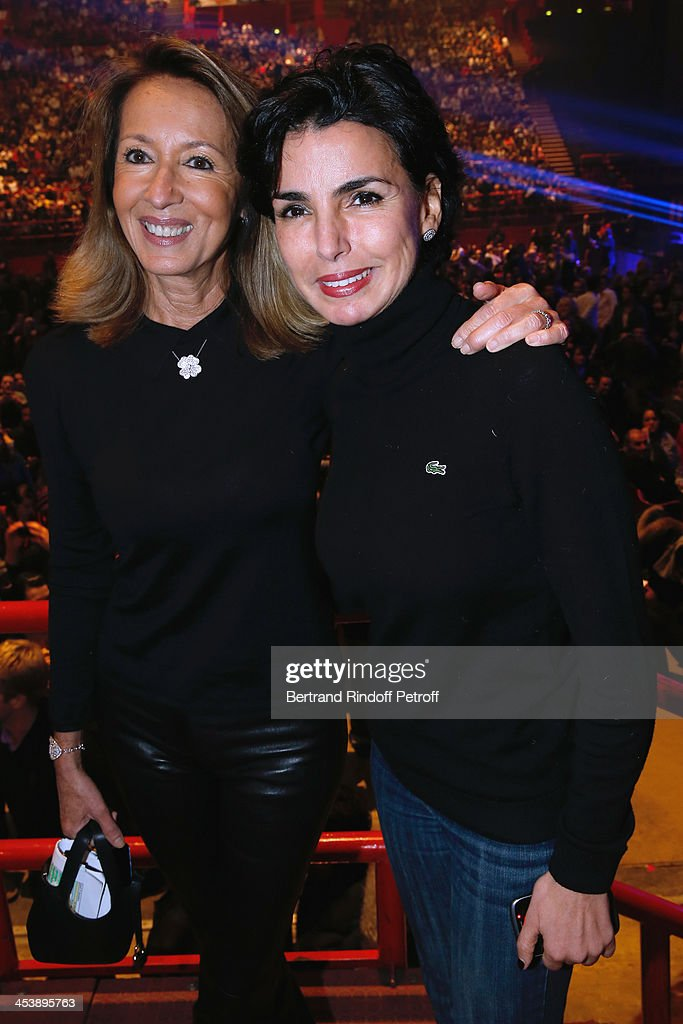 Producer Nicole Coullier and Politician Rachida dati attending Celine Dion's Concert at Palais Omnisports de Bercy on December 5, 2013 in Paris, France.