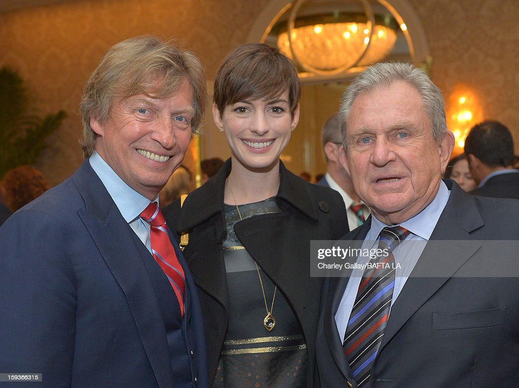 Producer <a gi-track='captionPersonalityLinkClicked' href=/galleries/search?phrase=Nigel+Lythgoe&family=editorial&specificpeople=736462 ng-click='$event.stopPropagation()'>Nigel Lythgoe</a>, actress <a gi-track='captionPersonalityLinkClicked' href=/galleries/search?phrase=Anne+Hathaway+-+Actress&family=editorial&specificpeople=11647173 ng-click='$event.stopPropagation()'>Anne Hathaway</a> and BAFTA Chairman, Board of Directors Larry Dartnall attend the BAFTA Los Angeles 2013 Awards Season Tea Party held at the Four Seasons Hotel Los Angeles on January 12, 2013 in Los Angeles, California.
