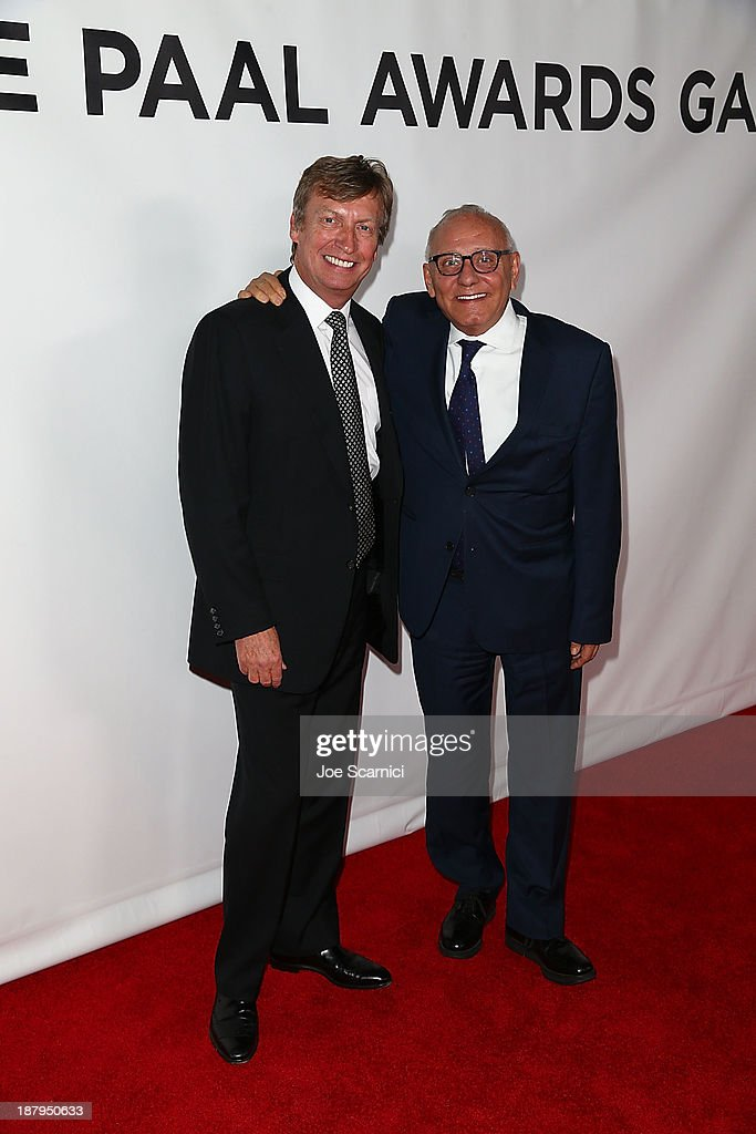 Producer <a gi-track='captionPersonalityLinkClicked' href=/galleries/search?phrase=Nigel+Lythgoe&family=editorial&specificpeople=736462 ng-click='$event.stopPropagation()'>Nigel Lythgoe</a> and CEO BCBG Max Azria attend the 2013 Los Angeles Police Department South Los Angeles PAAL Awards Gala at Peterson Automotive Museum on November 13, 2013 in Los Angeles, California.