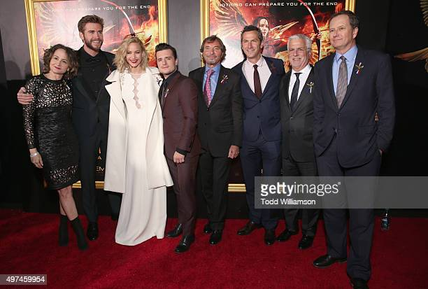 Producer Nina Jacobson actors Liam Hemsworth Jennifer Lawrence and Josh Hutcherson cochairman of Lionsgate Motion Picture Group Patrick Wachsberger...