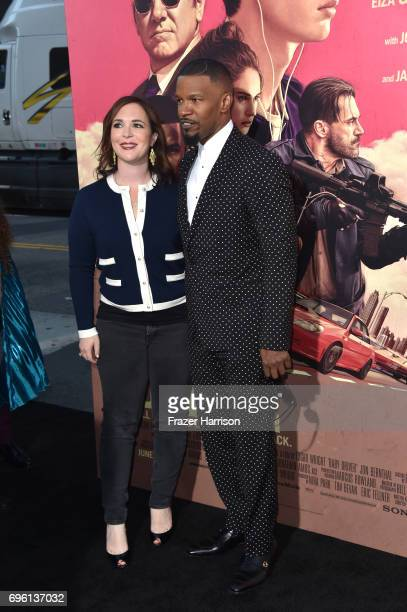 Producer Nira Park and actor Jaime Foxx and arrive at the Premiere of Sony Pictures' 'Baby Driver' at Ace Hotel on June 14 2017 in Los Angeles...