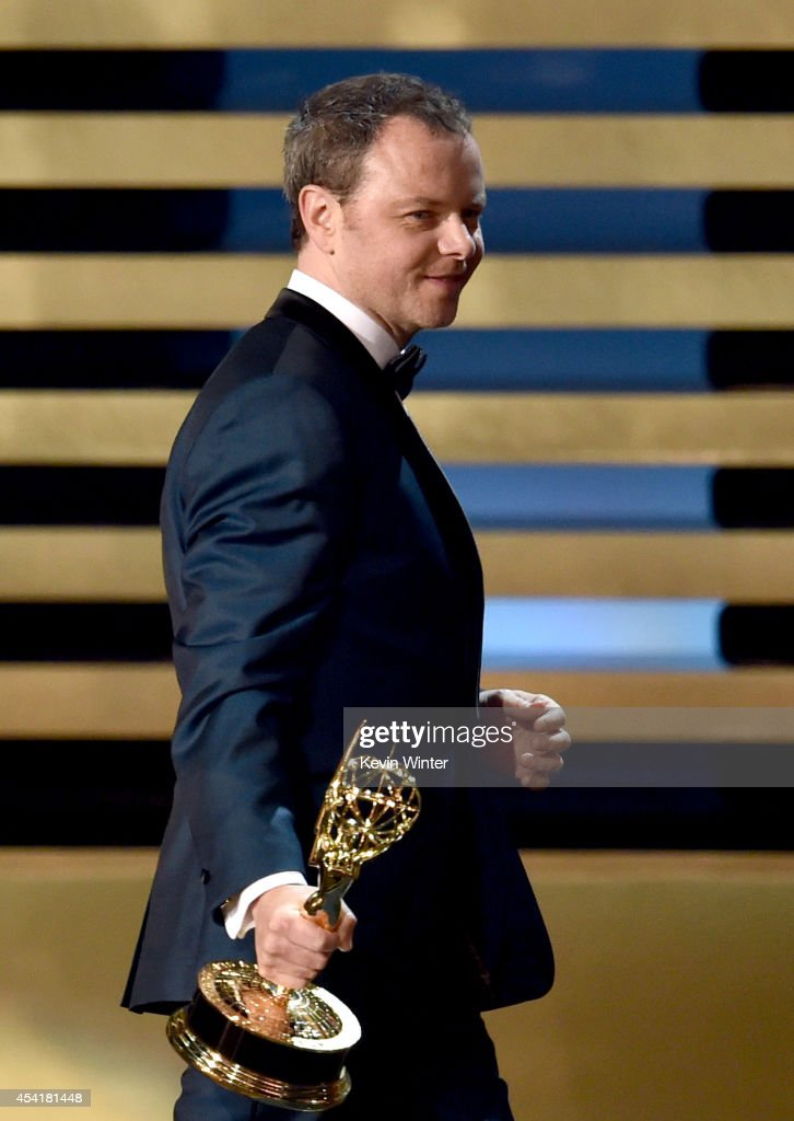 Producer Noah Hawley accepts Outstanding Miniseries for 'Fargo' onstage at the 66th Annual Primetime Emmy Awards held at Nokia Theatre L.A. Live on August 25, 2014 in Los Angeles, California.
