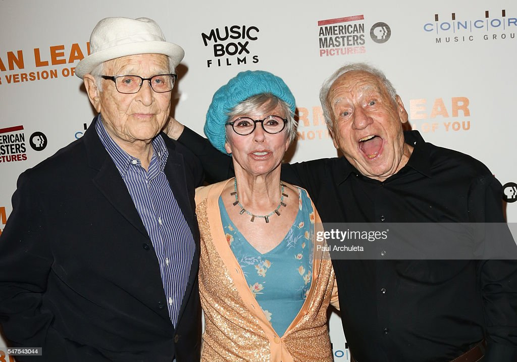 Producer Norman Lear, Actress Rita Moreno and Producer Mel Brooks attends and Mel Brooks the premiere of 'Norman Lear: Just Another Version Of You' at The WGA Theater on July 14, 2016 in Beverly Hills, California.