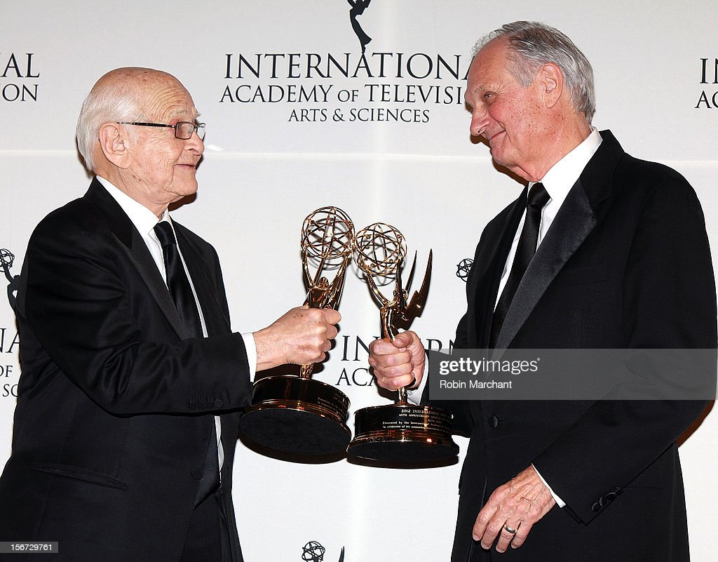 Producer <a gi-track='captionPersonalityLinkClicked' href=/galleries/search?phrase=Norman+Lear&family=editorial&specificpeople=206632 ng-click='$event.stopPropagation()'>Norman Lear</a> (L) and actor <a gi-track='captionPersonalityLinkClicked' href=/galleries/search?phrase=Alan+Alda&family=editorial&specificpeople=206416 ng-click='$event.stopPropagation()'>Alan Alda</a> attend the 40th International Emmy Awards on November 19, 2012 in New York City.