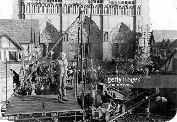 Producer Norman Rosemont on the set of the film 'The Hunchback of Notre Dame' aka 'Hunchback' at Pinewood Studios 1982 In the background is a replica...
