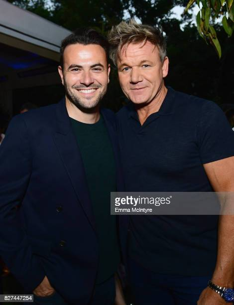 Producer of Carpool Karaoke series Ben Winston and celebrity chef Gordon Ramsay at Apple Music Launch Party Carpool Karaoke The Series with James...
