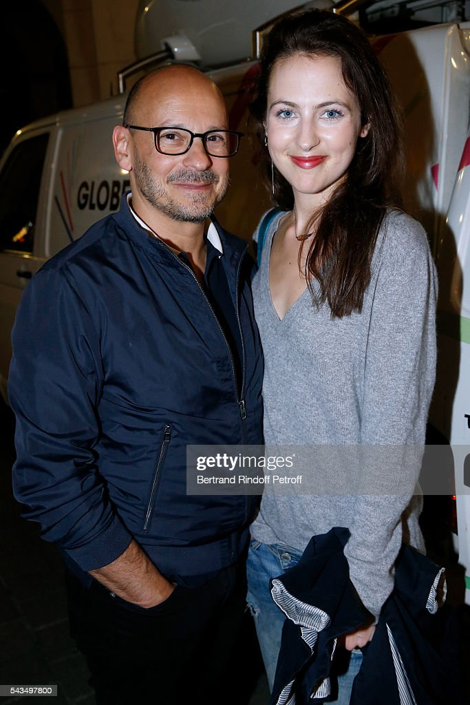 Producer of Nexus Factory, Sylvain Goldberg and actress Margaux Laplace attend 'Du vent dans les branches de Sassafras' Theater Play Live on France 2 TV Chanel. Held at Theatre Edouard VII on June 28, 2016 in Paris, France.