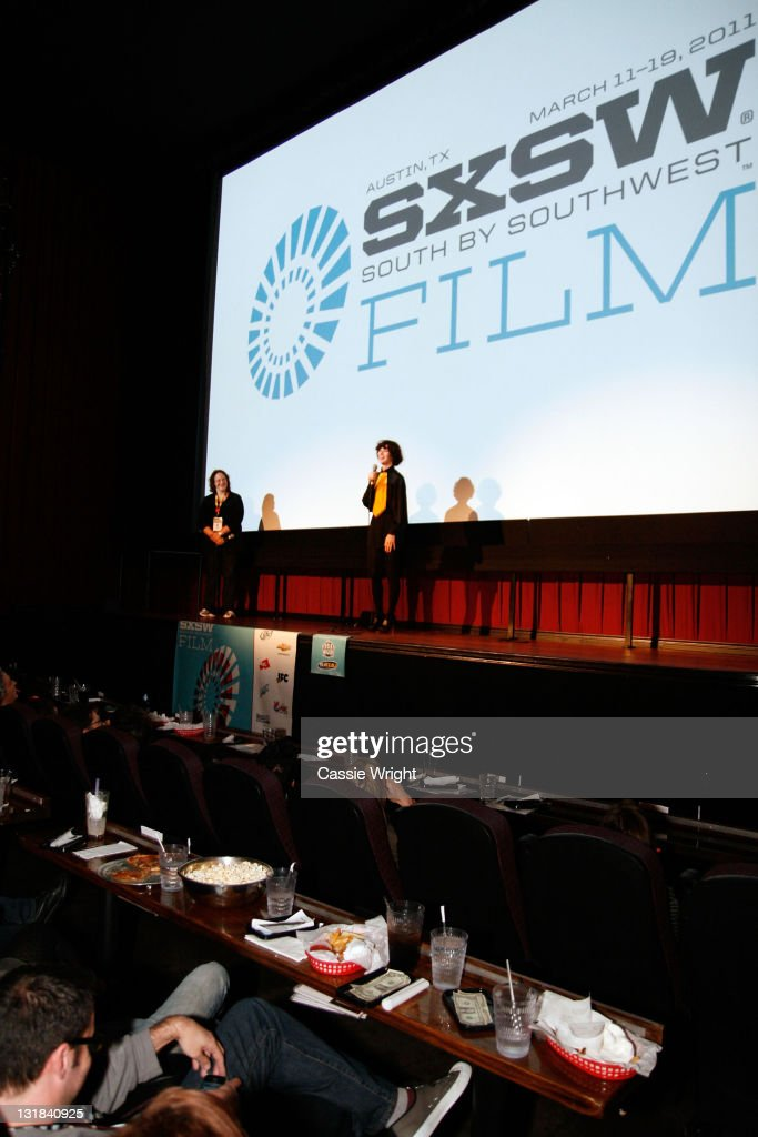 Producer of SXSW Janet Pierson and writer/director/actress Miranda July speak at the 2011 SXSW Music Film Interactive Festival 'The Future' Premiere...