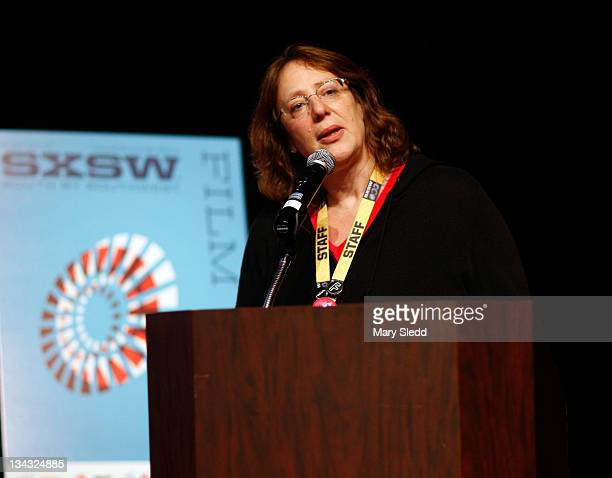 Producer of SXSW Janet Pierson speaks onstage during the 2011 SXSW Music Film Interactive Festival Film Awards at Vimeo on March 15 2011 in Austin...