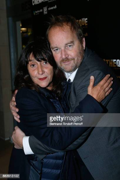 Producer of the movie Sylvie Pialat and Director of the movie Xavier Beauvois attend the 'Les Gardiennes' Paris Premiere at la cinematheque on...