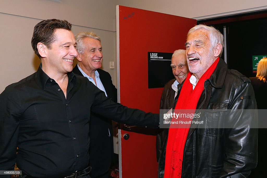 Producer of the show Gilbert Coullier, Laurent Gerra, actors Charles Gerard and Jean-Paul Belmondo poses backstage following the show of impersonator Laurent Gerra 'Un spectacle Normal' at L'Olympia on December 20, 2013 in Paris, France.