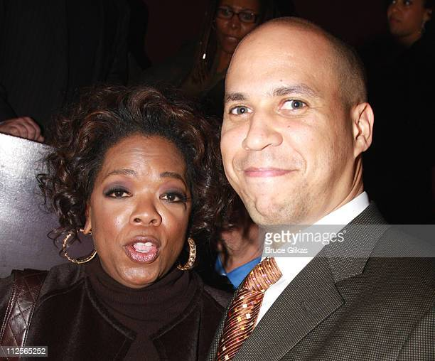 COVERAGE* Producer Oprah Winfrey and Newark Mayor Cory Booker pose at the celebration for new Broadway cast members of 'The Color Purple' Chaka Khan...
