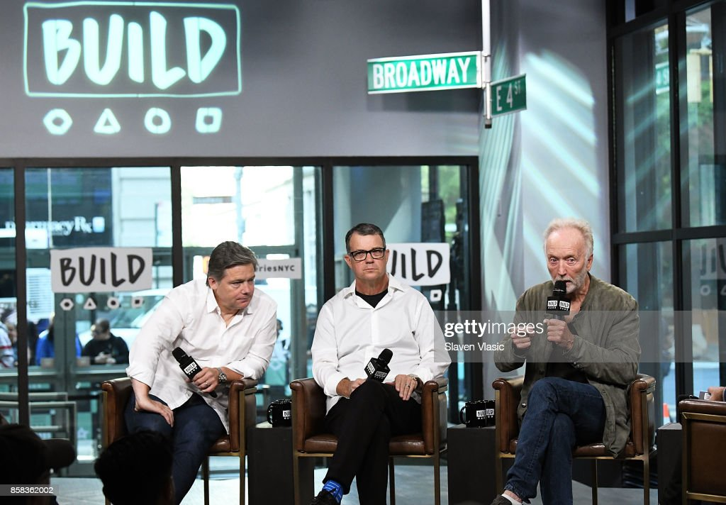 Producer Oren Koules, producer Mark Burg and actor Tobin Bell visit Build to discuss 'Jigsaw' at Build Studio on October 6, 2017 in New York City.