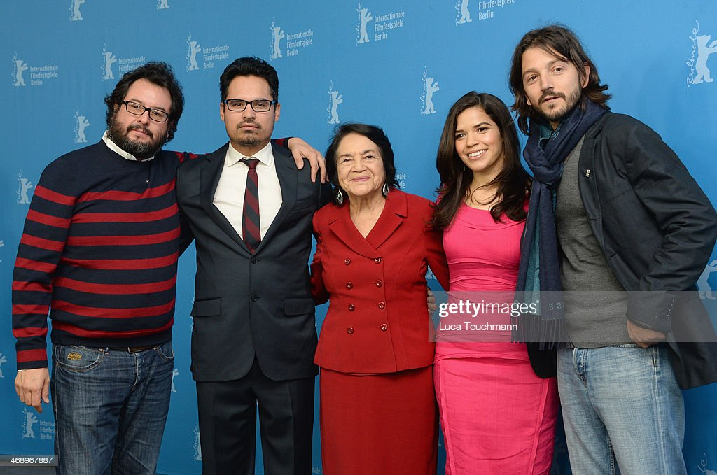Producer Pablo Cruz, actor Michael Pena, Dolores Huerta, actress <a gi-track='captionPersonalityLinkClicked' href=/galleries/search?phrase=America+Ferrera&family=editorial&specificpeople=216393 ng-click='$event.stopPropagation()'>America Ferrera</a> and director <a gi-track='captionPersonalityLinkClicked' href=/galleries/search?phrase=Diego+Luna&family=editorial&specificpeople=213511 ng-click='$event.stopPropagation()'>Diego Luna</a> attend the 'Cesar Chavez' photocall during 64th Berlinale International Film Festival at Grand Hyatt Hotel on February 12, 2014 in Berlin, Germany.